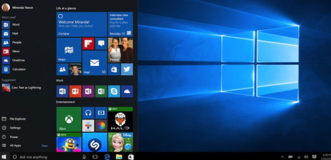 windows 10 interfaz